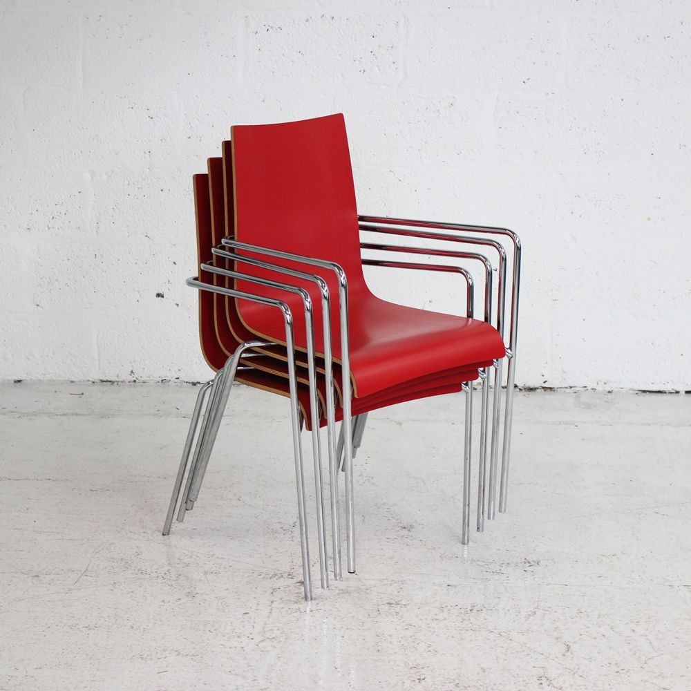 Red Stacking Canteen Chair Red Cafe Chair Stacking